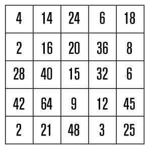 Kopfrechenspiele-Mathe-Bingo